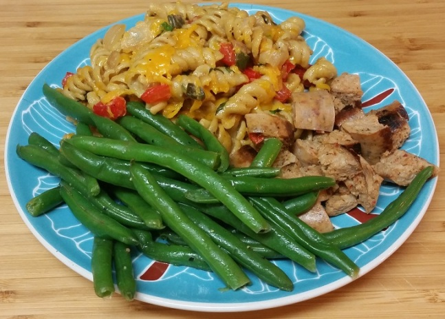 mac-and-cheese-green-beans-sausage